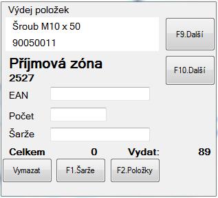 Ukázka jednoho z oken software DataHub, který je provozován na čtečce čárového kódu a který realizuje řízený sklad