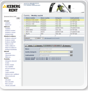 Ukázka systému IceBerg Rent