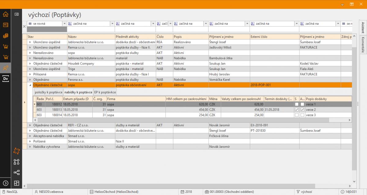 CRM - obchodní procesy v Helios Orange iNUVIO - poptávky