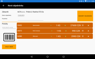 Mobilní obchodník pro Helios Orange objednávka